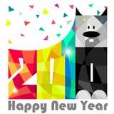 Счастливый Новый Год 2018 Год собаки Дизайн поздравительной открытки Вектор EPS 10 Стоковые Фотографии RF