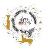 Счастливый Новый Год собаки Стоковая Фотография RF