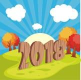 Счастливый Новый Год 2018 с дизайном ландшафта шаржа Стоковые Фотографии RF