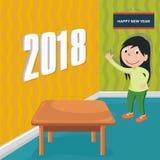 Счастливый Новый Год 2018 с дизайном шаржа Стоковое Изображение