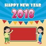 Счастливый Новый Год 2018 с дизайном шаржа Стоковые Изображения RF