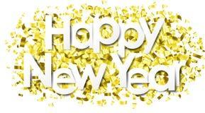 Счастливый Новый Год с золотым вектором изолированным confetti бесплатная иллюстрация
