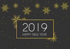 Счастливый Новый Год 2019 с оформлением золота иллюстрация штока