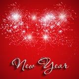 Счастливый Новый Год с предпосылкой фейерверков Стоковые Изображения