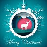 Счастливый Новый Год, с Рождеством Христовым шарик - иллюстрация зимы Бумажный ландшафт зимы Характеры оленей бесплатная иллюстрация