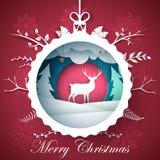 Счастливый Новый Год, с Рождеством Христовым шарик - иллюстрация зимы Бумажный ландшафт зимы Характеры оленей иллюстрация вектора