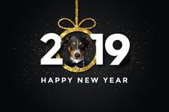 Счастливый Новый Год 2019 с собакой бесплатная иллюстрация