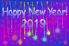 Счастливый Новый Год 2019 также вектор иллюстрации притяжки corel бесплатная иллюстрация
