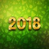 Счастливый Новый Год 2018, текст золота, карточка, открытка, illustrat вектора Стоковое Фото