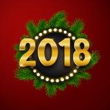 Счастливый Новый Год 2018, текст золота, карточка, открытка, illustrat вектора Стоковые Фотографии RF