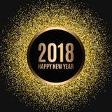 Счастливый Новый Год 2018 Новый Год яркого блеска золота Предпосылка золота для рогульки, знамени, сети, заголовка, плаката, знак Стоковое Изображение