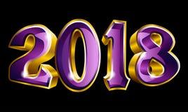 Счастливый Новый Год 2018 3D как дизайн текста золота вектора Стоковые Изображения