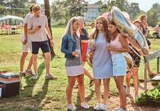 Счастливый переговор подруг совместно на партии пикника внешней Сцена праздновать день рождения на внешнем парке стоковые фото