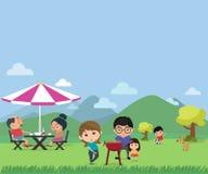 Счастливый пикник семьи в внешнем современном плоском illustra вектора стиля иллюстрация вектора