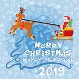 Счастливый плакат Нового Года с плоскими Санта Клаусом и оленями стоковые фотографии rf