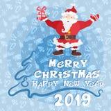 Счастливый плакат Нового Года с плоским Санта Клаусом с подарком стоковая фотография