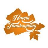 Счастливый плакат оформления благодарения Дизайн торжества для знамени, открытки, события, карточки, логотипа Осень стиля вектора иллюстрация штока