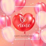 Счастливый плакат оформления дня валентинок с рукописным текстом каллиграфии иллюстрация вектора