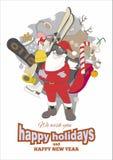Счастливый плакат праздников в ретро стиле Оформление желаний Санта Клауса и Нового Года иллюстрация штока