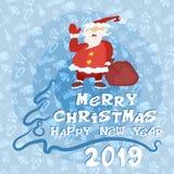 Счастливый плакат рождества Нового Года с Санта Клаусом стоковое изображение rf