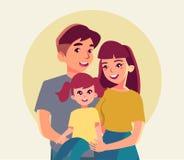 Счастливый плакат семьи с матерью, усмехаясь отцом, иллюстрацией вектора маленькой девочки в плоском стиле иллюстрация штока