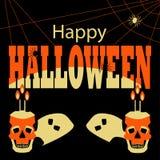 Счастливый плакат хеллоуина с черепами и пауками стоковое фото