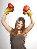 Счастливый победитель. женщина successs стоковые изображения