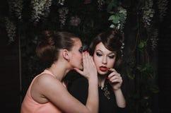 Счастливый портрет романтичных красивых пар милой женщины с стилем причёсок, модой составляет, красные губы, винтажное платье Стоковое Изображение RF