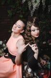Счастливый портрет романтичных красивых пар милой женщины с стилем причёсок, модой составляет, красные губы, винтажное платье Стоковое фото RF