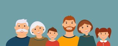 Счастливый портрет семьи: дед, бабушка, отец, мать, сын и дочь иллюстрация штока