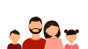 Счастливый портрет семьи: родители и дети на белой предпосылке иллюстрация вектора