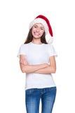Счастливый представлять девушки santa Стоковое фото RF