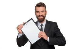 Счастливый профессионал демонстрирует его бизнес-план стоковая фотография rf