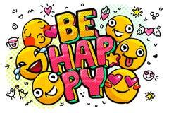 Счастливый пузырь слова иллюстрация штока