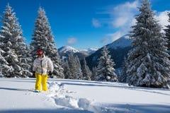 Счастливый путешественник, женщина идет snowshoeing Стоковые Фотографии RF