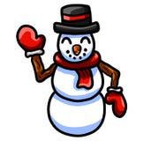 Счастливый развевая снеговик иллюстрация штока