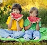 Счастливый ребенок есть арбуз в саде 2 мальчика с плодоовощ внутри стоковое фото rf