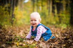 Счастливый ребёнок смеясь над и играя в осени на лесе Стоковое Изображение