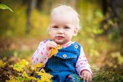Счастливый ребёнок смеясь над и играя в осени на лесе Стоковое фото RF