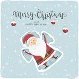 Счастливый Санта Клаус делая ангела снега иллюстрация вектора