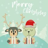 Счастливый Санта Клаус на предпосылке зимы, веселом рождестве вектор иллюстрация штока