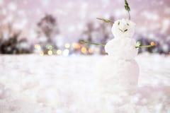 Счастливый снеговик в снеге Стоковые Фотографии RF