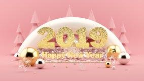 2019 счастливый состав желания 3D Нового Года в тысячелетних розовых цветах и рождественские елки с украшениями вокруг иллюстрация вектора