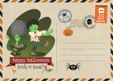Счастливый стиль почтового сбора приглашения вектора хеллоуина иллюстрация вектора