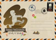 Счастливый стиль почтового сбора приглашения вектора хеллоуина иллюстрация штока