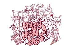 Счастливый стиль doodle рождественской открытки зайчика Нового Года иллюстрация штока