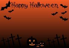 Счастливый страшный хеллоуин с тыквами и летучими мышами стоковое изображение rf