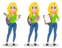 счастливый студент задняя школа к иллюстрация вектора