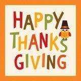 Счастливый сыч рамки квадрата карточки благодарения в шляпе паломника Стоковое фото RF