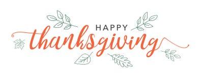 Счастливый текст каллиграфии благодарения с проиллюстрированными листьями зеленого цвета над белой предпосылкой иллюстрация штока